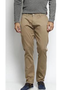 Calça Reta Concept Fit Em Sarja - Marrom Claro - Inindividual