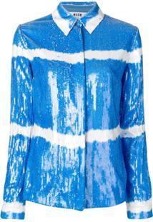 Msgm Jaqueta Estilo Camisa Com Paetês - Azul