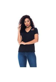 T-Shirt Daniela Cristina Gola V 12 602Dc10330 Preto