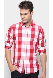 Camisa Xadrez Watkins&Krown Masculina - Masculino-Vermelho+Branco