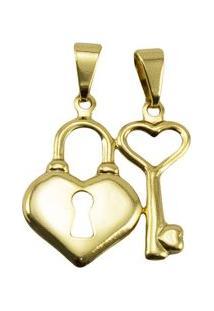 Pingente Tudo Jóias Chave E Coração Folheada A Ouro 18K - Unissex-Dourado