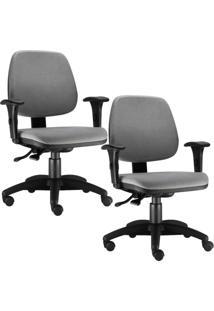 Kit Cadeiras Giratã³Ria Lyam Decor Job Cinza - Cinza - Dafiti