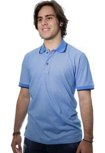 Camiseta Laos Gola Polo Manga Curta Um Azul Claro
