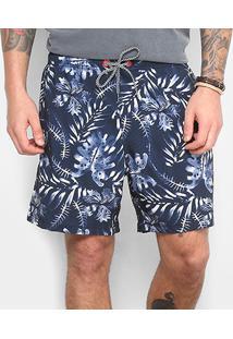 Short Redley Elastico Batik Floral - Masculino-Marinho