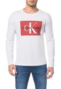 Camiseta Ckj Ml Est Quadrado Logo - Branco 2 - Ggg