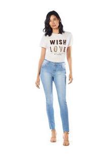 Calca Skinny Andreia Cos Intermediario Detalhe Ilhos Jeans