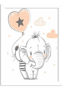 Quadro Decorativo Infantil Elefantinho Fofo Branco - Médio