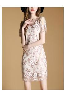 Vestido De Renda Para Festa Com Design De Flores - Rosa