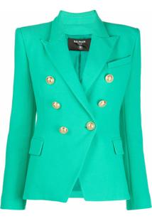 Balmain Double-Breasted Peak-Lapel Blazer - Verde