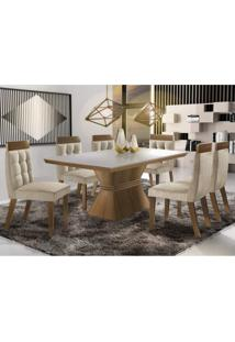 Conjunto Sala De Jantar Mesa E 6 Cadeiras Cronos Tik Plus Siena Móveis Castanho Fosco/Animale Bege