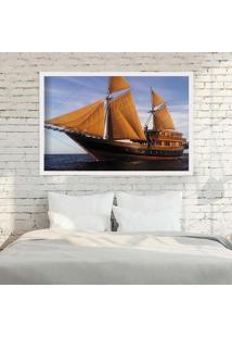 Quadro Love Decor Com Moldura Barco À Vela Branco Médio