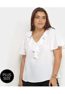 Blusa Lemise Plus Size Babado Manga Curta Feminina - Feminino-Branco