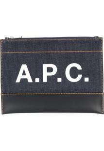 A.P.C. Bolsa Clutch Com Logo Estampado - Azul