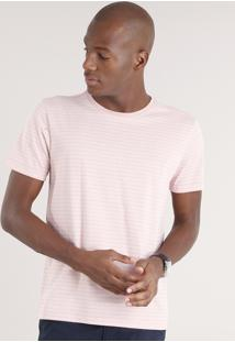 Camiseta Masculina Básica Listrada Manga Curta Gola Careca Rosê