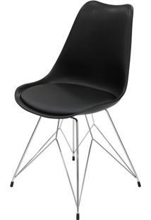 Cadeira Eames Premium Com Almofada Preta Base Torre - 40903 - Sun House