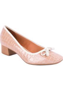 Sapato Vizzano Salto Grosso Laço E Strass Croco Verniz Bege - Feminino-Bege