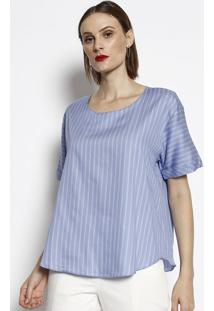 Blusa Ampla Listrada- Azul & Cinza- Cotton Colorscotton Colors Extra