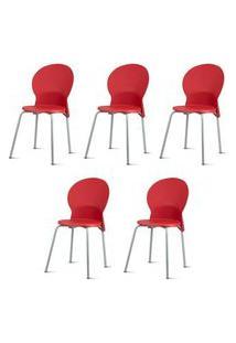 Kit 5 Cadeiras Luna Assento Vermelho Base Cinza - 57706 Cinza