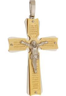 Pingente Crucifixo Grande Tudo Joias Dourado De Aço Inox - Unissex-Dourado