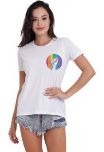 Camiseta Basica Joss Lgbt Raise Your Hands Branca - Kanui