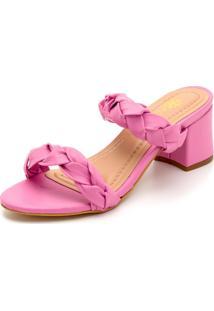 Sandália Salto Grosso Médio Em Metalizado Rosa - Kanui