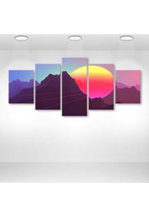 Quadro Decorativo - Retrowave Dimensional Artwork Neon - Composto De 5 Quadros - Multicolorido - Dafiti