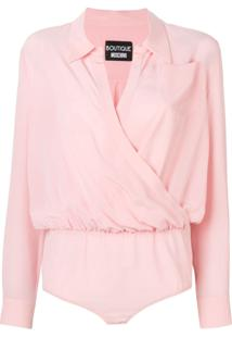 Boutique Moschino Body De Seda Com Bolso - Rosa