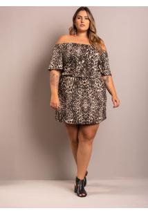 Vestido Ciganinha Myra Animal Print Plus Size