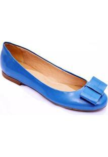 Sapatilha Casual Sylt Verniz Laço Confort Feminina - Feminino-Azul Turquesa