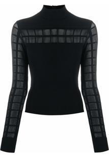 Alexander Mcqueen Blusa De Tricô Com Recortes Translúcidos - Preto