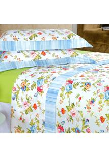Jogo De Cama Enxovais Aquarela Queen 4 Peças Azul Floral Paris
