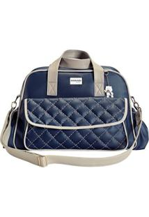 Bolsa Dublin - Azul Marinho & Bege- 33X28X7Cm - Batistela