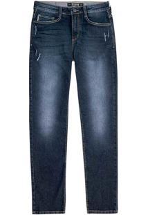 Calça Jeans Slim Masculina Em Algodão Com Destroyed E Lavação Clara