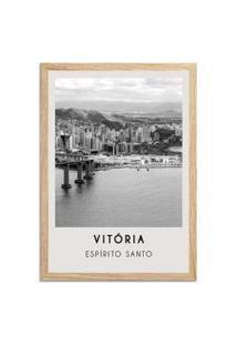 Quadro 65X45Cm Cidades Vitória Brasil Moldura Madeira Sem Vidro