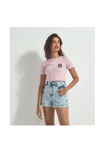 Blusa Cropped Em Algodão Estampa Pote De Gatinhos | Blue Steel | Rosa | P