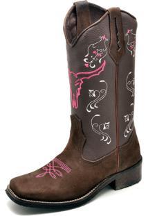 Bota Texana Click Calçados Bico Quadrado Cara De Boi Rosa Em Couro
