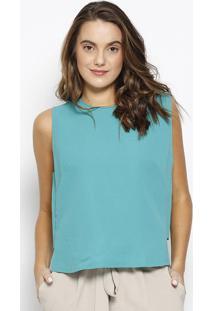 Blusa Cropped Texturizada Com Recorte- Verde- Maria Morena Rosa