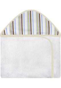 Toalha De Banho C/ Capuz Estampado Laura Baby Cavalinho Listrado