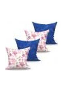 Conjunto De Capas Para Almofada Com 4 Peças Floratta Medalhão Azul E Rosa 60X60 Cm