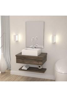 Conjunto Para Banheiro Gabinete Com Cuba Q35 E Prateleira 605W Metrópole Compace Carvalho Dark