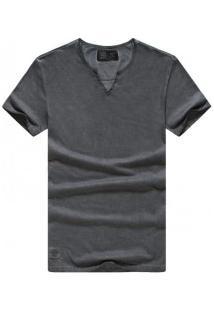 Camiseta Masculina Gola V Manga Curta - Cinza