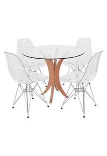 Conjunto Mesa De Jantar Em Vidro 90Cm Com 4 Cadeiras Eiffel Transparentes Metal