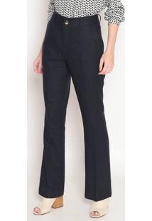 Calça Pantalona Em Linho Com Bolsos- Azul Marinho- Hhering