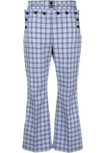 Marni Checked High-Waist Trousers - Azul