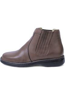 Botina Couro Riber Shoes Elastico Masculino - Masculino-Vermelho Claro