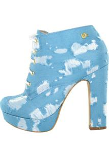 Ankle Boot Salto Grosso Week Shoes Azul