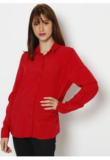 Camisa Lisa Com Recorte- Vermelhahering