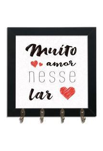 Quadro Oppen House Porta Chaves 24X24Cm Frases Muito Amor Decorativo Chaveiro Moldura Preta