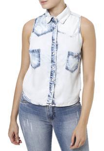 Camisa Regata Feminina - Feminino-Azul