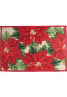 Tapete Poinsettia E Folhas Decoração Natal 48X69Cm Vermelha